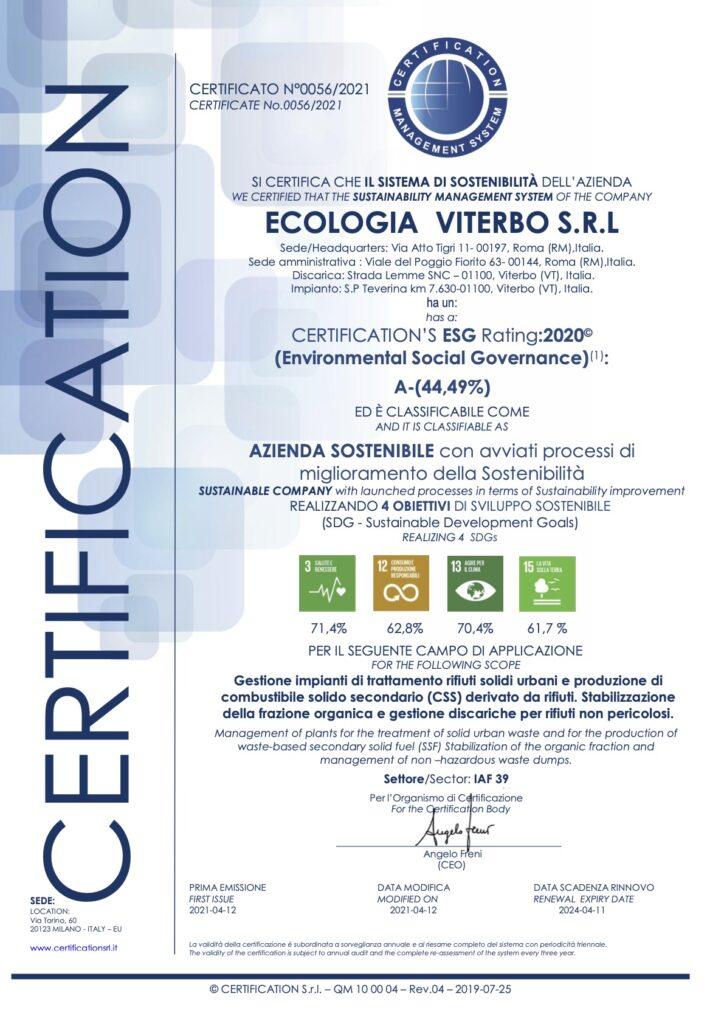 Certificazione ESG rating 2020 Ecologia Viterbo